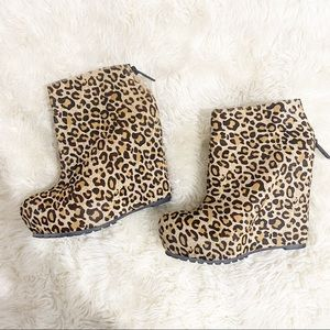 Matiko  Leopard Print Pony Hair Wedge Ankle Boots